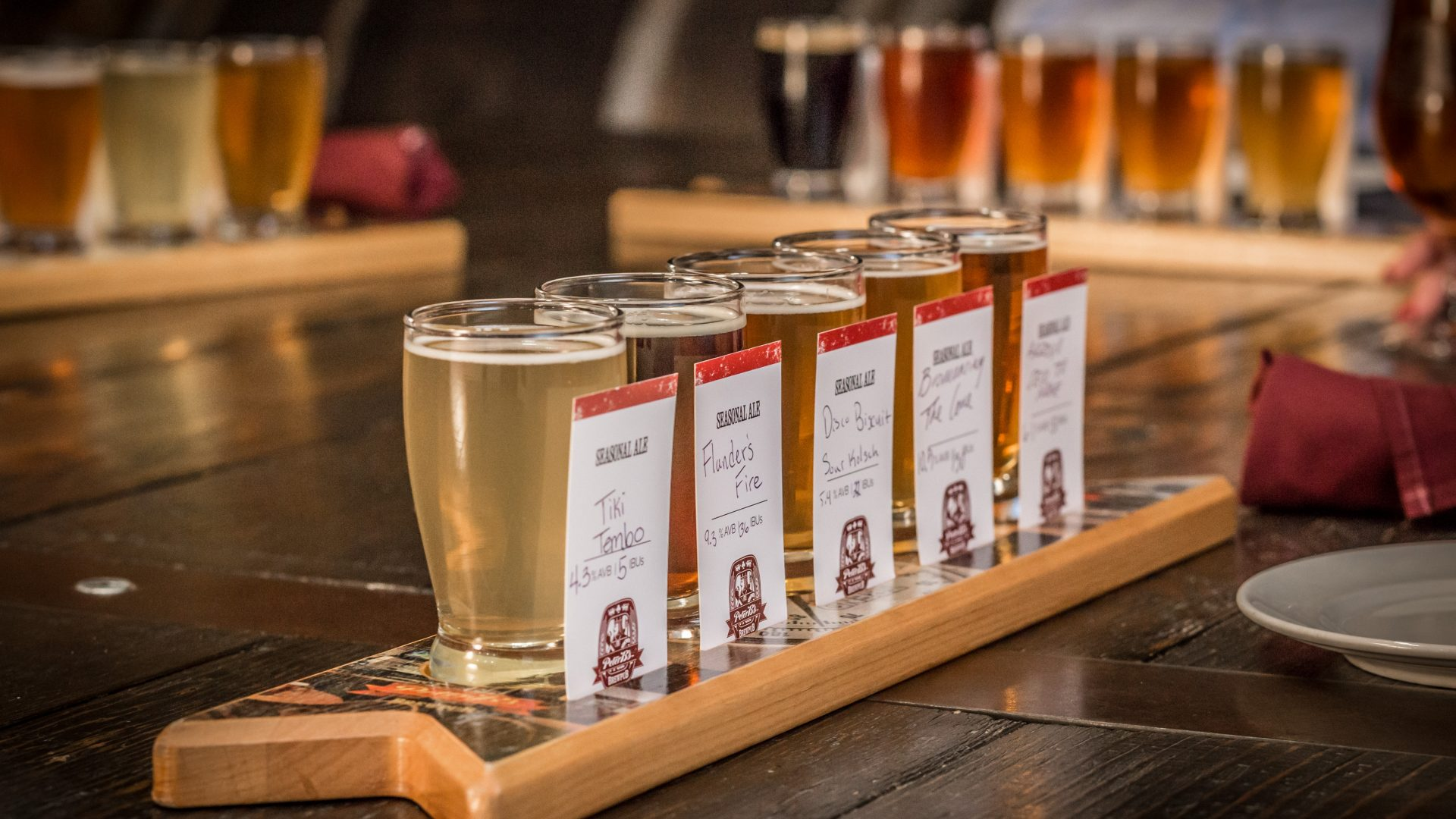 beer flights at Peter B's Brewpub in Monterey