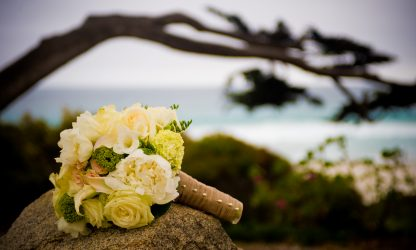 Picture of wedding flowers at Portola Hotel in Monterey CA